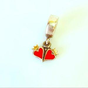 Pandora 14k red enamel hearts dangle charm